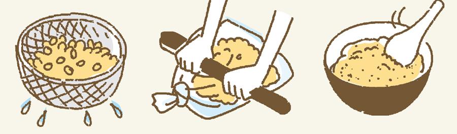 味噌の作り方4のイラスト