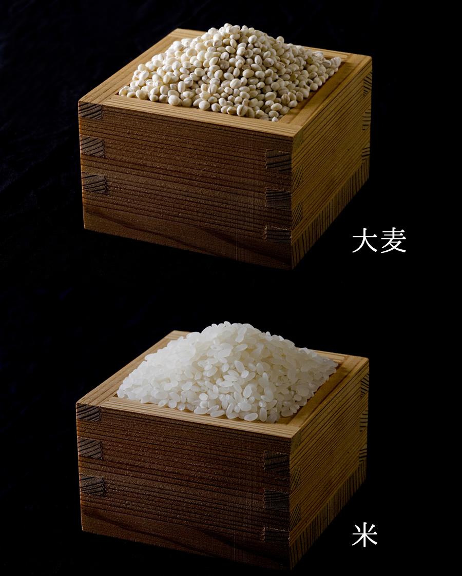 国産の大麦と米